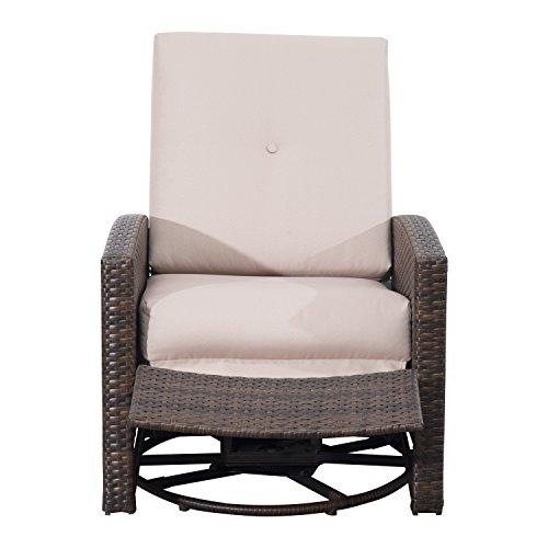 Amazon.com : Outsunny Rattan Wicker Swivel Rocking Outdoor Recliner Lounge  Chair : Patio, Lawn U0026 Garden