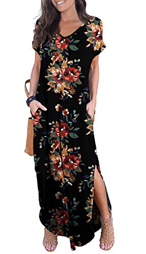 GRECERELLE Women's Casual Loose Long Dress Short Sleeve Floral Print Maxi Dresses with Pockets Brown Black-M