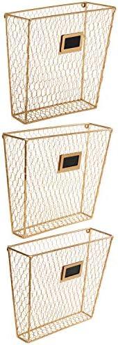 MyGift Wall Mounted Gold Tone Chicken Magazine