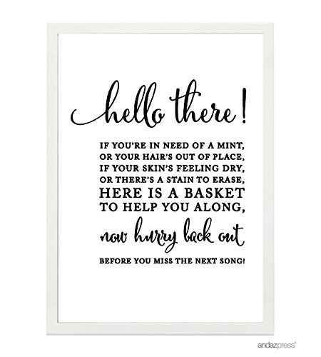 Andaz Press Wedding Framed Party Signs, Formal Black and White, 5x7-inch, Bathroom Basket, 1-Pack, Includes Frame