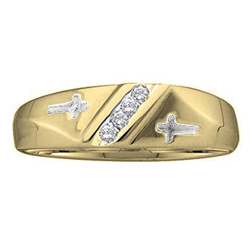 Dazzlingrock Collection 0.05 Carat (ctw) 10K Round Diamond Men's Anniversary Cross Wedding Band, Yellow Gold, Size 10 Cross Diamond Accent Wedding Band