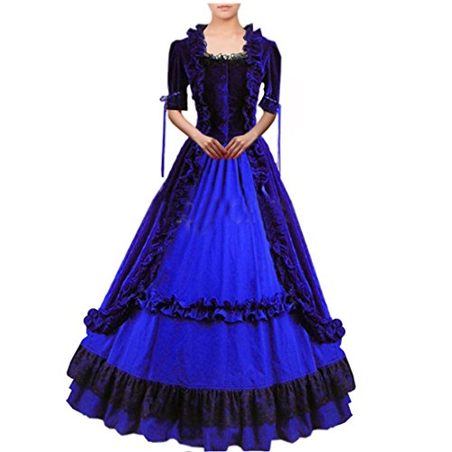 Cheap Victorian Dress (Partiss Women Lace Ruffles Gothic Victorian Fancy Dress Costumes XX-Large,Blue)