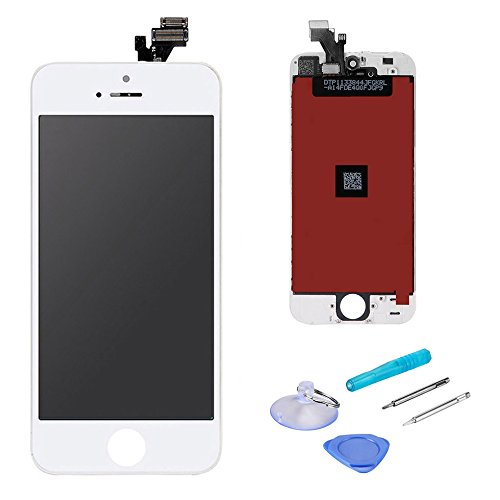 (LCD Touch Screen Digitizer Display Replacement Assembly with Repair Tool for iPhone 5-White)