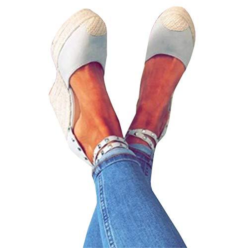 Syktkmx Womens Espadrille Platform Wedge D'Orsay Cap Toe Rivet Strap Summer Dress Sandals
