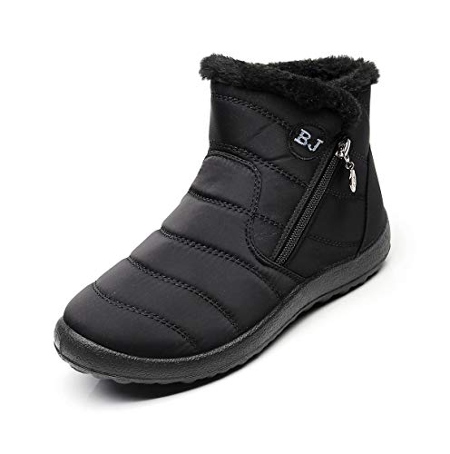 Womens Snow Boots Waterproof Black Size 8.5 Women's Winter Boots for Ladies Girls Woman Warm Ankle Boots Booties Fur-Lined Rubber Zip Lightweight No Slip Fashion Cute Best