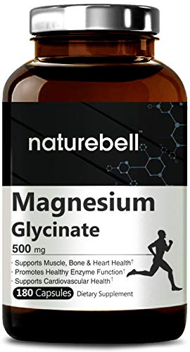 Maximum Strength Magnesium Glycinate 500mg, 180 Capsules, Powerfully Supports Muscle, Bone, Joint, Heart & Enzyme Function, Non-GMO, Gluten Free and Made in USA