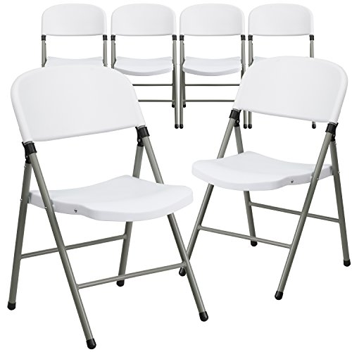 (Flash Furniture 6 Pk. HERCULES Series 330 lb. Capacity White Plastic Folding Chair with Gray Frame)