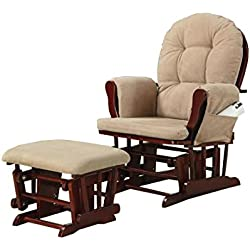 Coaster Traditional Beige Microfiber Upholstered Glider Rocker with Matching Ottoman