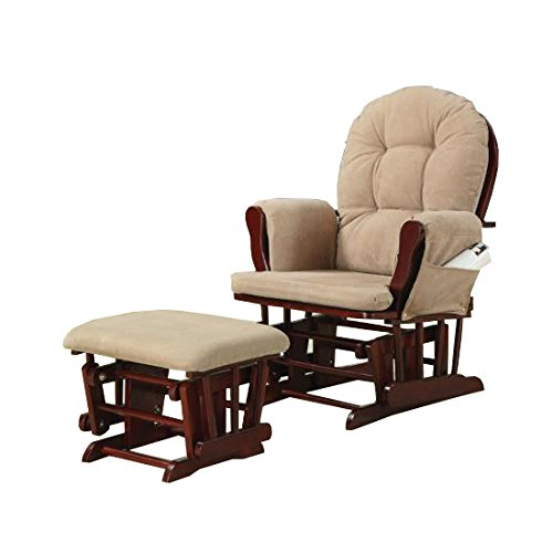 Upholstery Glider Rocker with Matching Ottoman Beige and Cherry