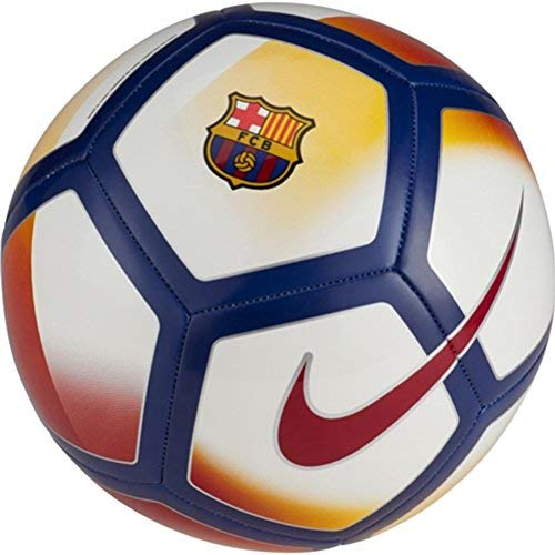 (NIKE FCB FC Barcelona Pitch Training Soccer Football Ball (White/Noble Red/University Gold, 3))