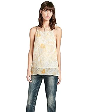 Yellow Paisley Crinkle Chiffon Camisole Tank Top