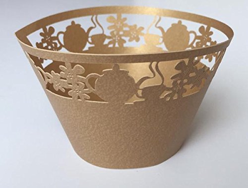 12 pcs Teacup & Kettle Cupcake Wrappers Wrapper for Standard Size Cupcake Liners (Choose Color) (Gold)