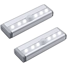 Closet Lights 6 LEDs Mini Size Motion Sensor Night Light Wall Cabinets Lighting Closet Drawer Stairs Step with Security Light Bed Lights, Battery Powered( 2-Pack )