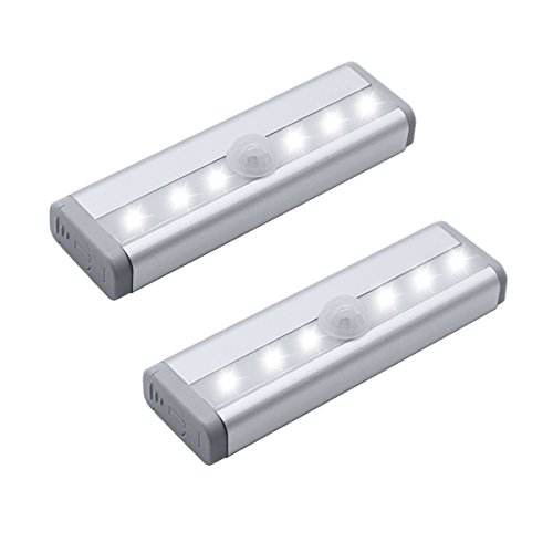 OHSMA Closet Lights 6 LEDs Mini Size Motion Sensor Night Light Wall Cabinets Lighting Closet Drawer Stairs Step with Security Light Bed Lights, Battery Powered(2-Pack) -