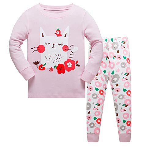 Pijama niñas Invierno-Pijama para niñas-Pijamas de Gato para niñas-Manga Larga niñas Ropa de algodón Traje Dos Set 2-8 Años: Amazon.es: Ropa y accesorios