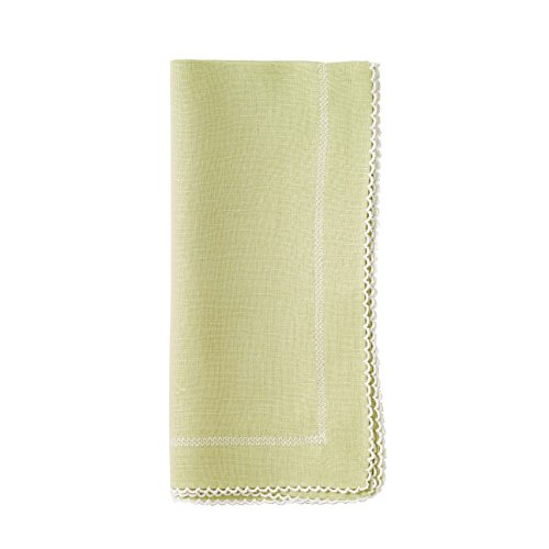 Bodrum Picot Willow Green & White Linen Napkins (Set of 6) 22'' x 22'' (55.9cm x 55.9cm) by Bodrum