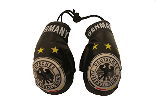 World Cup Gloves (Germany Black , 3 Stars , Deutcher Fussball - Bund Logo FIFA World Cup Mini Boxing Gloves to Hang Over Your Automobile Mirror ... New)
