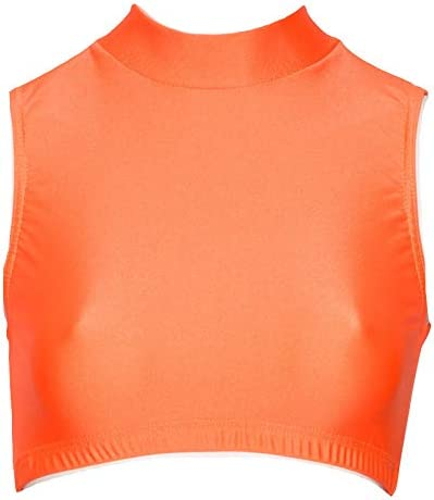Katz Dancewear Ladies Girls Nylon Lycra Dance Gym Sports High Neck Crop Top KCTN-7 Age 7-8 Years Katz 1, Red