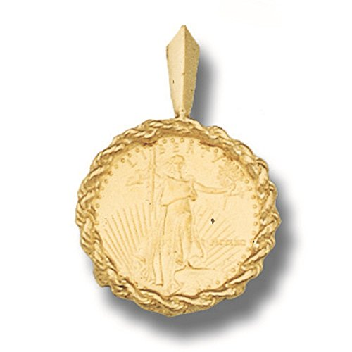 TEX 22K Fine Gold 1/10 Oz Lady Liberty Coin Set with -14K Rope Frame Pendant (5810(Random Year Coin) ()