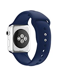 Silicone Sports Band For Apple Watch Series 1/2 38MM,Changeshopping 1PC Sports Soft Replacement Bands,14 Colors to Choose (Apple Watch Series 1/2 38MM, Navy)