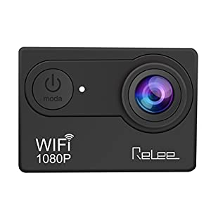 Relee Action Sports WIFI Camera FHD 1080P Waterproof DV Camcorder with 2 PACK BATTERIES and Battery Charger 170 Degree Wide Angle-Black