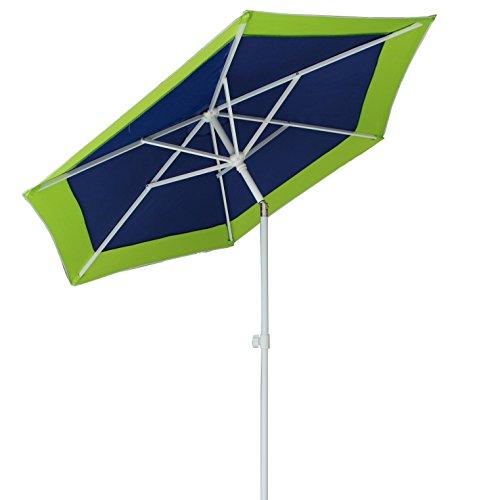 Ammsun 6 Panels 7ft Polyester Fabric Heavy Duty Air Vent UV Protection Patio Umbrella Beach Umbrella with Zinc Tilt Green