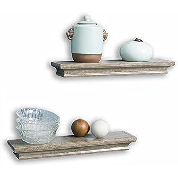 decorative wall shelves set grey wash finish of 2pcs