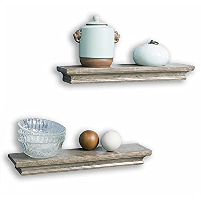 AHDECOR Floating Shelves Ledge Shelf Grey Wash (4 Inches Deep, Set of 2pcs) - Small shelves are great for small items, read the DEEP DIMENSION carefully Beautiful wall shelf makes space utilization efficient and great for home, office & dorm, decorative and functional These wall display shelves are made of High-quality MDF with laminated - wall-shelves, living-room-furniture, living-room - 41lTDm4HhoL. SS400  -