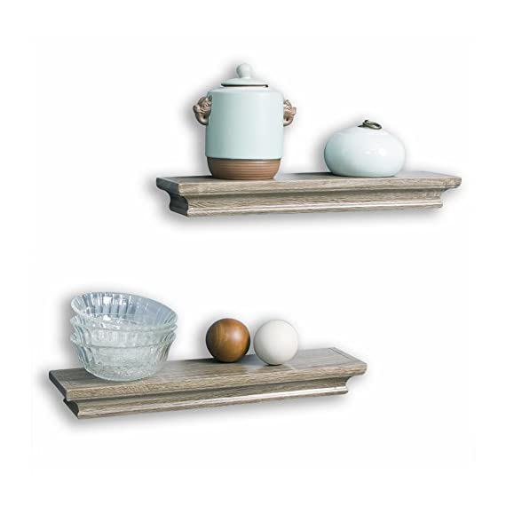 AHDECOR Floating Shelves Ledge Shelf Grey Wash (4 Inches Deep, Set of 2pcs) - Small shelves are great for small items, read the DEEP DIMENSION carefully Beautiful wall shelf makes space utilization efficient and great for home, office & dorm, decorative and functional These wall display shelves are made of High-quality MDF with laminated - wall-shelves, living-room-furniture, living-room - 41lTDm4HhoL. SS570  -