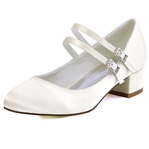 ElegantPark FC1615 Women Closed Toe Chunky Heel Mary Jane Pumps Satin Evening Wedding Dress Shoes Ivory US 7