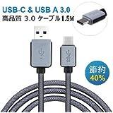 F.Wave【Amazon限定】USB3.1 Type-c & USB3.0ケーブル USB3.1 Type-c データ転送ケーブル Google Nexus 5X/6P、Nokia N1 タプレット Apple MacBookなど USB-C 対応機器用 TypeC 3.0HiCa (1.5M)