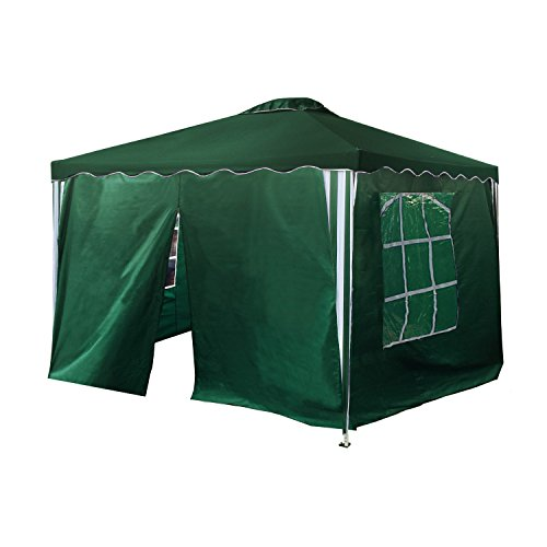 ALEKO GAZWSW10X10G Easy Popup Outdoor Collapsible Gazebo Canopy Tent with Four Removable Wall Panels 10 x 10 Feet Green by ALEKO
