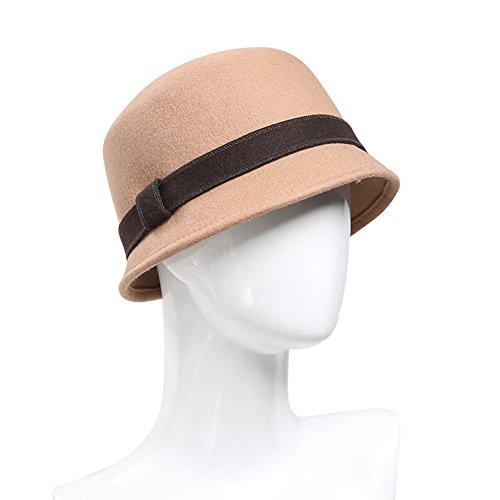 女性のための帽子レディースクラシックエレガントなクローシェハットフェドラ帽子フェルト帽子ワイドブリムダービー教会パーティーボウラーハット純粋な羊毛