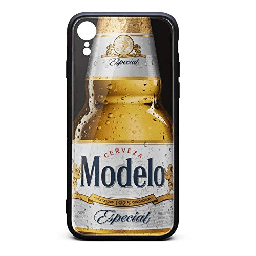 iPhone XR Case 9H Tempered Glass Back Cover Anti-Scratch Modelo-Especial-Beer-Logo- Protective Phone Cover for iPhone XR