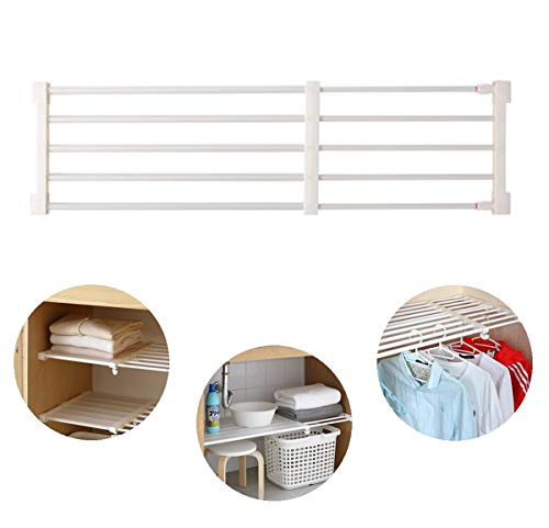 TabEnter Adjustable Shelf Organizer Expandable Closet Shelf and Rod with No Drilling for Wardrobe Cupboard Kitchen Bookcase 15