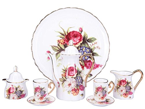 (Children's 10 Piece Mini Tea Party Set for 2, Red and Pink Roses)