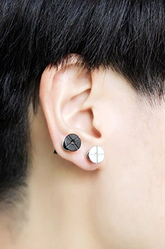 7e850f866 Amazon.com : An ear clip screw punk earrings men without pierced earring  magnet earrings female perspective before and after : Beauty