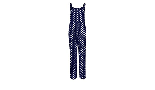 Whitegeese Women Strap Sleeveless Camis Long Pants Summer Jumpsuit Polka Dot Playsuit Romper