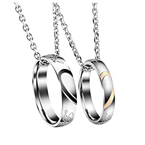 Jovivi 2PCS Collier Couple Pendentif Bague Gravure Personnalisé Acier Inoxydable Anneau Bague Amour Cadeau Valentine…