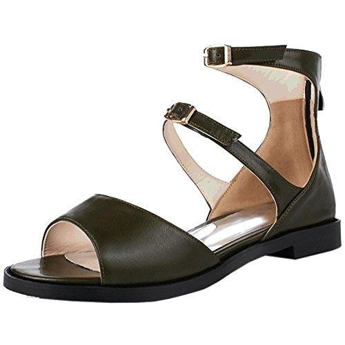 COOLCEPT Damen Freizeit Open Toe Sandalen Schuhe Army Green