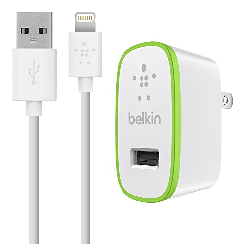 Belkin F8J052tt04-WHT Mobile Device Charger with 4-Feet Lightning Cable, (2.1 Amp/10 Watts), White ()