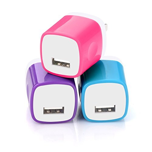 Wall Charger, MaxMall 3-Pack USB 1.0AMP AC Universal Power Home Travel Adapter Wall Charger Plug for iPhone 6 Plus, 6s Plus, iPad, Tablet, Samsung Galaxy S6 Edge, Note 5, HTC, and More (Home Travel Charger Ac Adapter)