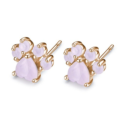 Viola Tricolor Small Cute Dog Claws Paw Earring Rose Gold Stud Earring Pink CZ Crystal Animal Claws Paw Stud Earrings For Women Teen Girls Animal (Dog Crystal Earrings)
