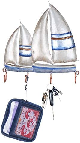 ウォールフック ボート型 アイアンハンガー 4フック コートバッグ 壁掛け洋服ホルダー 装飾ギフト用