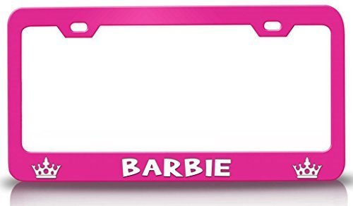 MaolinLicensF License Plate Covers Barbie Princess Girly Girl Aluminum Metal License Plate Frame Pink 2 Holes and Screws
