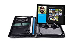 Professional Organizer Padfolio with Handle for Microsoft Surface Pro 3 / Surface Pro 4,Black