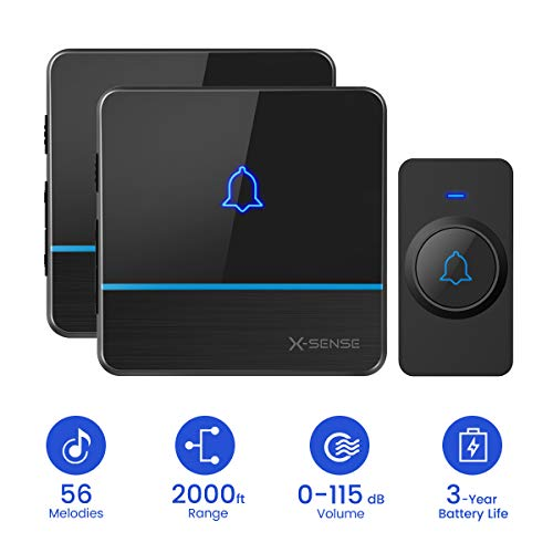 X-Sense C2 Wireless Doorbell Chime Kit, Operating at 2,000 Feet Ultra-Long Range with 2 Plug-In Receivers 56 Melodies and 5 Volume Levels, CD Quality Sound and LED Flash for Home and Classroom Black