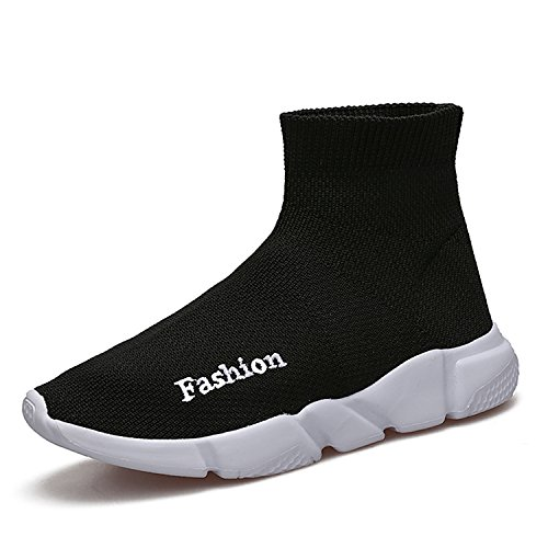 BADIER Socks Shoes Great Top Raise Air Cushion Lightweight Mesh Elastic Woven Walking Running Sport Sneakers Comfortable Soft Unexpected Boy and Girl Kids Student Shoes Black 37/5 M US Big Kid
