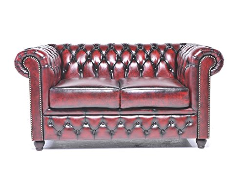 (Original Chesterfield Sofa - 2 Seater - Full Real Hand Washed Leather - Antique Red)