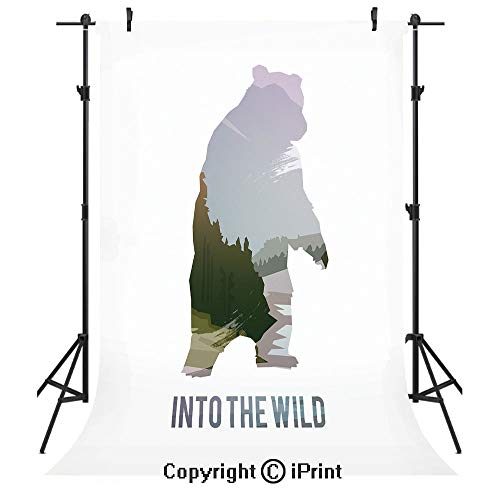 Cabin Decor Photography Backdrops,Wild Animals of Canada Survival in the Wild Theme Hunting Camping Trip Outdoors Decorative,Birthday Party Seamless Photo Studio Booth Background Banner 3x5ft,Multicol